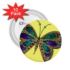 Butterfly Mosaic Yellow Colorful 2 25  Buttons (10 Pack)