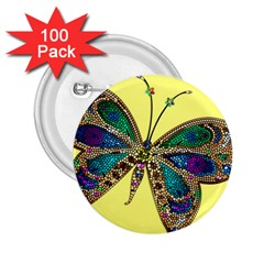 Butterfly Mosaic Yellow Colorful 2 25  Buttons (100 Pack)