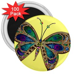 Butterfly Mosaic Yellow Colorful 3  Magnets (100 pack)