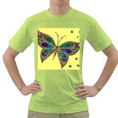 Butterfly Mosaic Yellow Colorful Green T Shirt