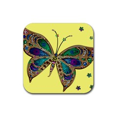 Butterfly Mosaic Yellow Colorful Rubber Coaster (square)
