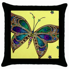 Butterfly Mosaic Yellow Colorful Throw Pillow Case (black)