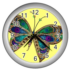 Butterfly Mosaic Yellow Colorful Wall Clocks (silver)
