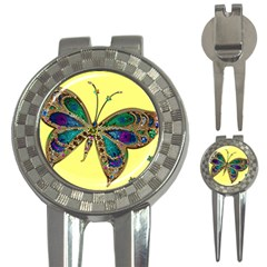 Butterfly Mosaic Yellow Colorful 3 In 1 Golf Divots