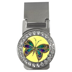 Butterfly Mosaic Yellow Colorful Money Clips (CZ)