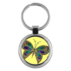 Butterfly Mosaic Yellow Colorful Key Chains (round)