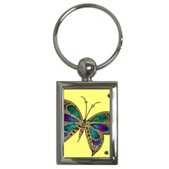 Butterfly Mosaic Yellow Colorful Key Chains (rectangle)