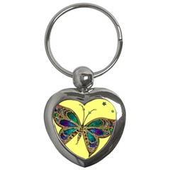 Butterfly Mosaic Yellow Colorful Key Chains (heart)