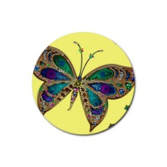 Butterfly Mosaic Yellow Colorful Rubber Coaster (round)
