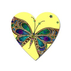 Butterfly Mosaic Yellow Colorful Heart Magnet