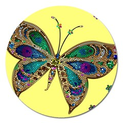 Butterfly Mosaic Yellow Colorful Magnet 5  (round)