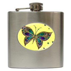 Butterfly Mosaic Yellow Colorful Hip Flask (6 Oz)