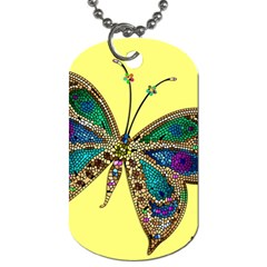 Butterfly Mosaic Yellow Colorful Dog Tag (two Sides)