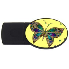 Butterfly Mosaic Yellow Colorful Usb Flash Drive Oval (2 Gb)