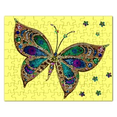 Butterfly Mosaic Yellow Colorful Rectangular Jigsaw Puzzl