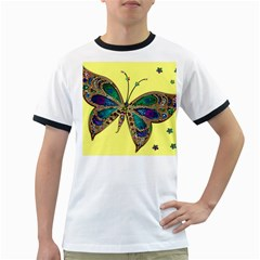 Butterfly Mosaic Yellow Colorful Ringer T Shirts