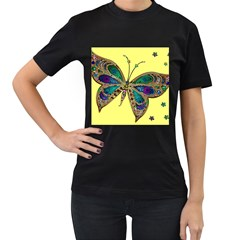 Butterfly Mosaic Yellow Colorful Women s T Shirt (black) (two Sided)