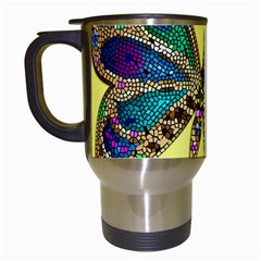 Butterfly Mosaic Yellow Colorful Travel Mugs (white)