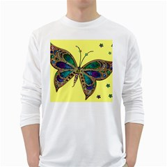 Butterfly Mosaic Yellow Colorful White Long Sleeve T Shirts