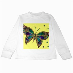 Butterfly Mosaic Yellow Colorful Kids Long Sleeve T Shirts