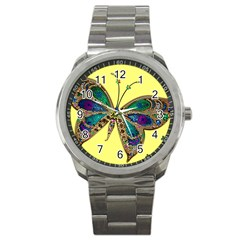Butterfly Mosaic Yellow Colorful Sport Metal Watch