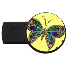Butterfly Mosaic Yellow Colorful Usb Flash Drive Round (4 Gb)