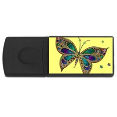 Butterfly Mosaic Yellow Colorful Usb Flash Drive Rectangular (4 Gb)