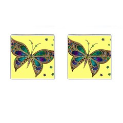 Butterfly Mosaic Yellow Colorful Cufflinks (square)