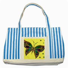 Butterfly Mosaic Yellow Colorful Striped Blue Tote Bag