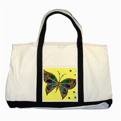 Butterfly Mosaic Yellow Colorful Two Tone Tote Bag