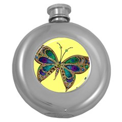 Butterfly Mosaic Yellow Colorful Round Hip Flask (5 oz)