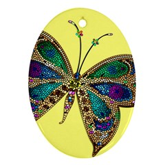 Butterfly Mosaic Yellow Colorful Oval Ornament (two Sides)