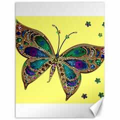 Butterfly Mosaic Yellow Colorful Canvas 12  X 16