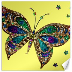 Butterfly Mosaic Yellow Colorful Canvas 16  X 16