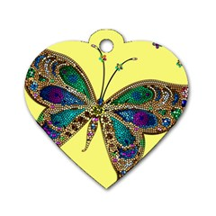 Butterfly Mosaic Yellow Colorful Dog Tag Heart (two Sides)