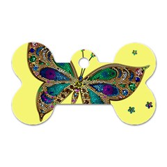 Butterfly Mosaic Yellow Colorful Dog Tag Bone (one Side)