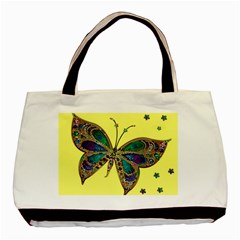 Butterfly Mosaic Yellow Colorful Basic Tote Bag (two Sides)