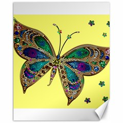 Butterfly Mosaic Yellow Colorful Canvas 11  X 14
