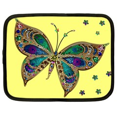 Butterfly Mosaic Yellow Colorful Netbook Case (large)