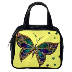 Butterfly Mosaic Yellow Colorful Classic Handbags (One Side)