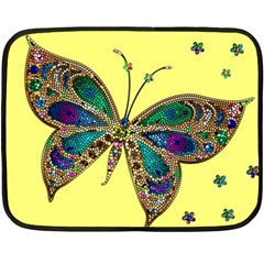 Butterfly Mosaic Yellow Colorful Double Sided Fleece Blanket (mini)
