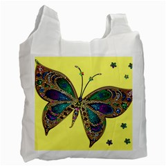 Butterfly Mosaic Yellow Colorful Recycle Bag (two Side)
