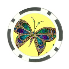Butterfly Mosaic Yellow Colorful Poker Chip Card Guards (10 Pack)
