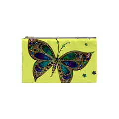 Butterfly Mosaic Yellow Colorful Cosmetic Bag (Small)