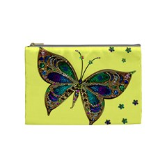 Butterfly Mosaic Yellow Colorful Cosmetic Bag (medium)