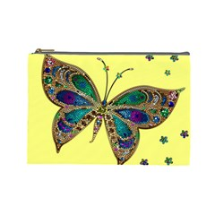 Butterfly Mosaic Yellow Colorful Cosmetic Bag (large)