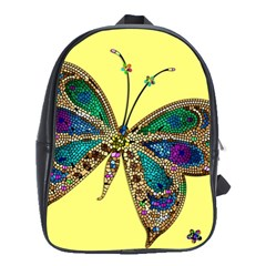 Butterfly Mosaic Yellow Colorful School Bags(large)
