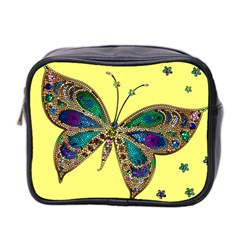 Butterfly Mosaic Yellow Colorful Mini Toiletries Bag 2 Side