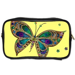 Butterfly Mosaic Yellow Colorful Toiletries Bags 2 Side