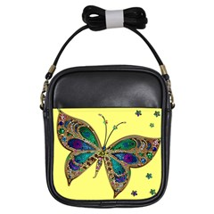 Butterfly Mosaic Yellow Colorful Girls Sling Bags